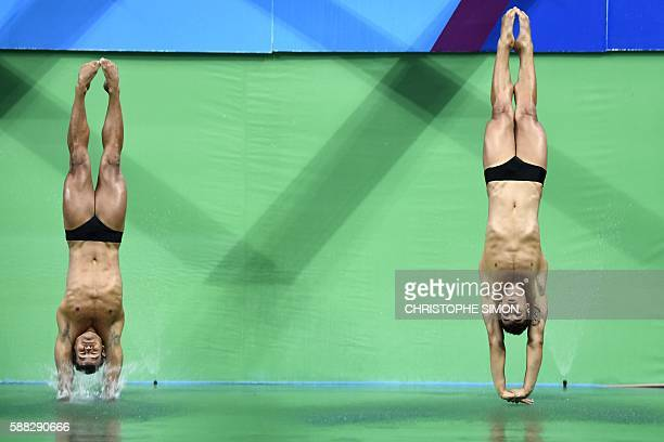 TOPSHOT Brazil's Ian Carlos De Matos and Brazil's Luiz Felipe Outerelo compete in the Men's Synchronised 3m Springboard Final during the diving event...