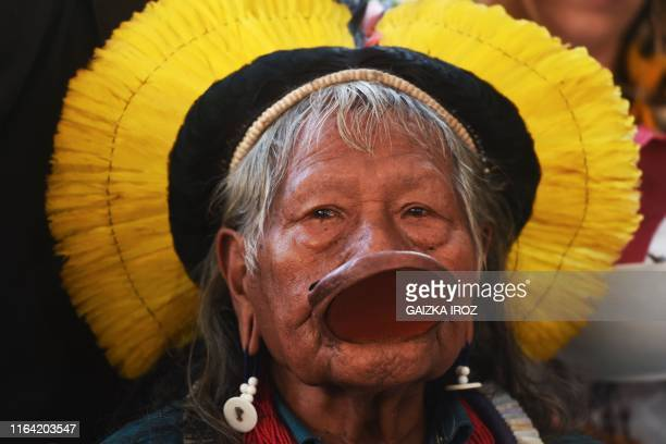 TOPSHOT Brazil's indigenous chief Raoni Metuktire of the Kayapo people looks on upon his arrival to give a press conference in Bidart southwest...