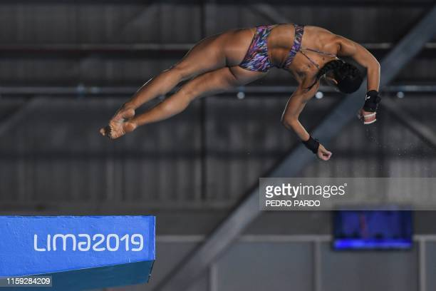 Brazil's Ingrid De Oliveira performs during the Women's 10M Platform preliminary event of the PanAmerican Games Lima 2019 in Lima on August 3 2019