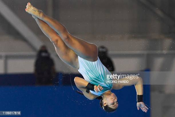 Brazil's Ingrid De Oliveira performs in the Women's 10m Platform final of the Diving competition during the Lima 2019 PanAmerican Games in Lima on...
