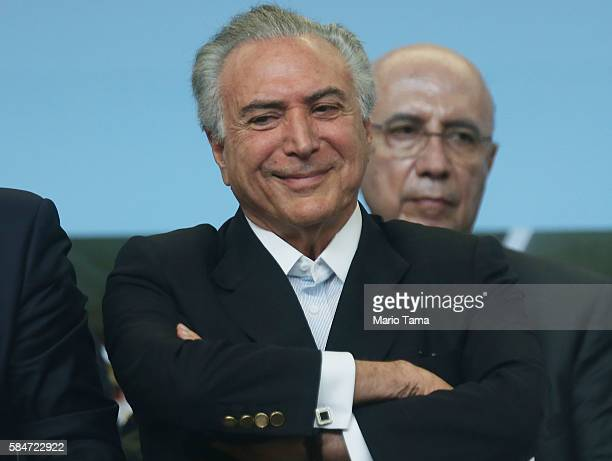 Brazil's interim President Michel Temer smiles during an event inaugurating a new subway line July 30 2016 in Rio de Janeiro Brazil After many delays...
