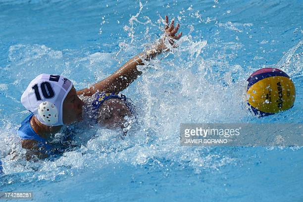 Brazil's Izabella Chiappini vies with Kazakhstan's Marina Gritsenko during the preliminary round match between Kazakhstan and Brazil of the women's...