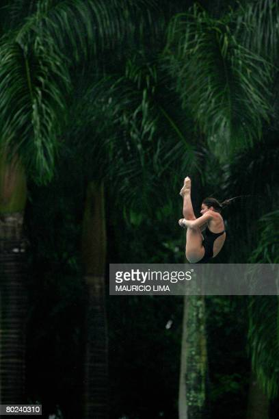 Brazil's Juliana Veloso performs to win the gold medal during the South American Aquatics Championships diving women's 10m platform final in Sao...