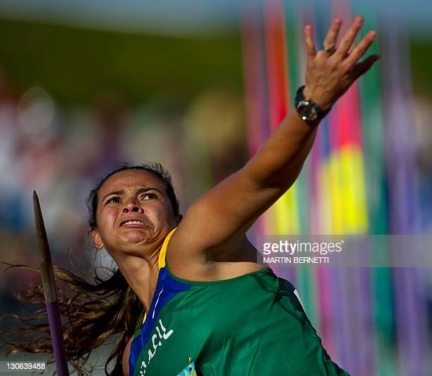 Brazil's Laila Silva competes in the Javelin Throw competition during the Guadalajara 2011 XVI PanAmerican Games in Guadalajara Mexico on October 27...