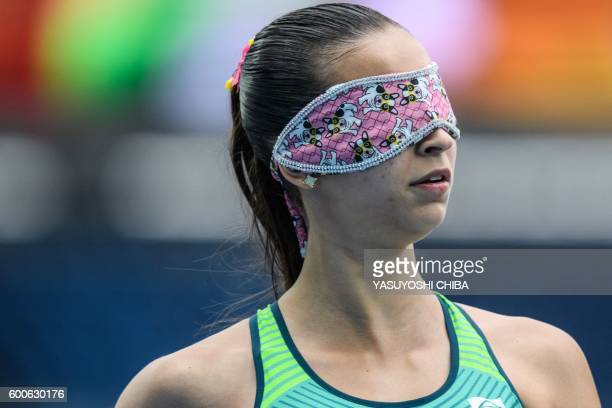 Brazil's Lorena Salvatini Spoladore is pictured after competing in a heat of the Women's 110 m during the Rio 2016 Paralympic Games at the Olympic...