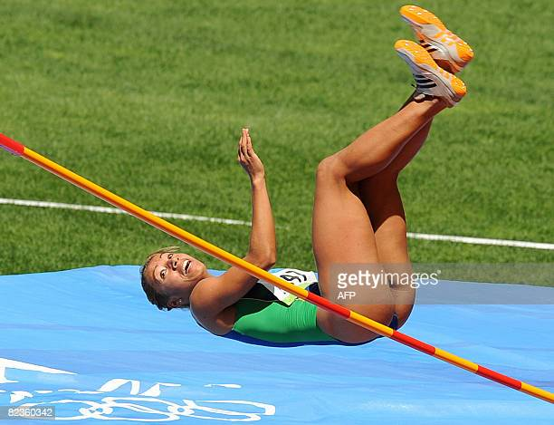 Brazil's Lucimara Silva competes during the women's Heptathlon High Jump group B at the National stadium as part of the 2008 Beijing Olympic Games on...