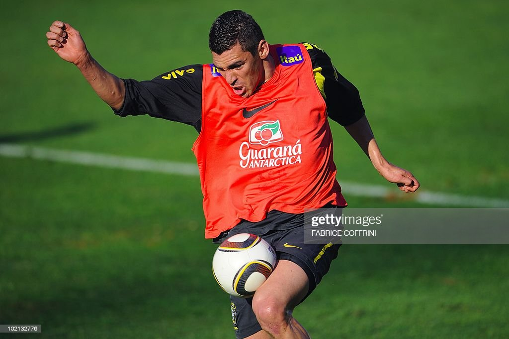 Brazil's Lucio controls the ball during a training session at the Randburg High School in Johannesburg on June 6, 2010 ahead of the 2010 World Cup football tournament in South Africa.