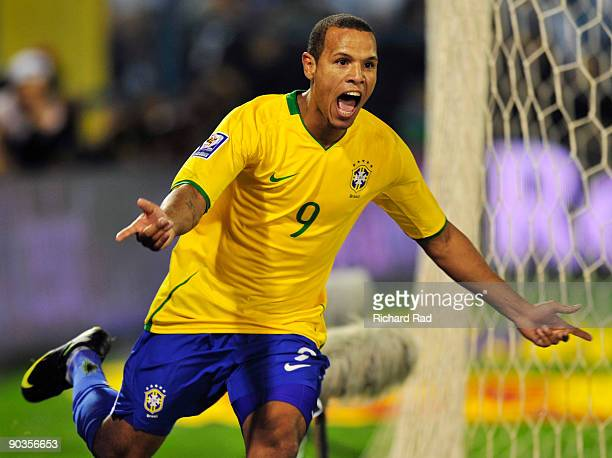 Brazil's Luis Fabiano celebrates after scoring against Argentina in a 2010 FIFA World Cup qualifier at the Gigante de Arroyito stadium on September...