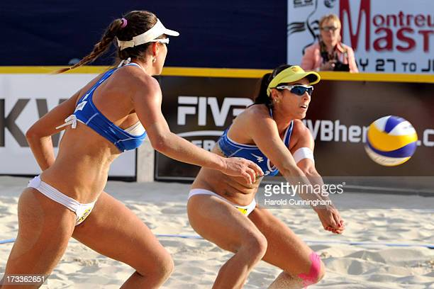 Brazils' Maria Antonelli looks on as Agatha Bednarczuk controls the ball during the AntonelliAgatha v XueZhang Xi game as part of the FIVB Gstaad...