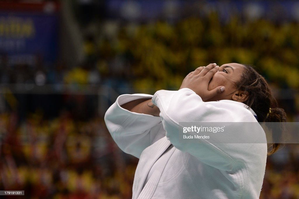 Brazil's Maria Suelen Altheman celebrates the victory in the +78kg category Semi-Final, during the IJF World Judo Championship at Gymnasium Maracanazinho on August 31, 2013 in Rio de Janeiro, Brazil.