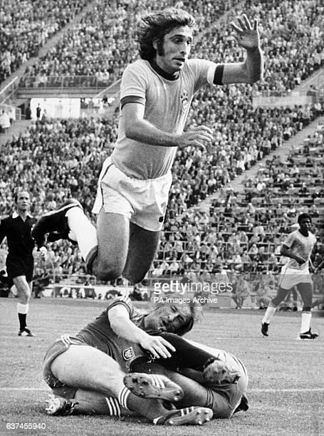 Brazil's Mario Marinho flies over Poland's Andrzej Szarmach and goalkeeper Jan Tomaszewski