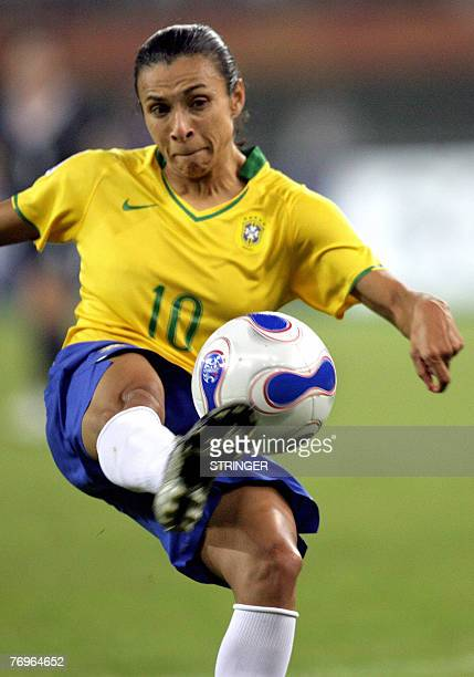 Brazil's Marta gets her foot on the ball against Australia in their quarterfinal match at the FIFA Women's World Cup football tournament at the...