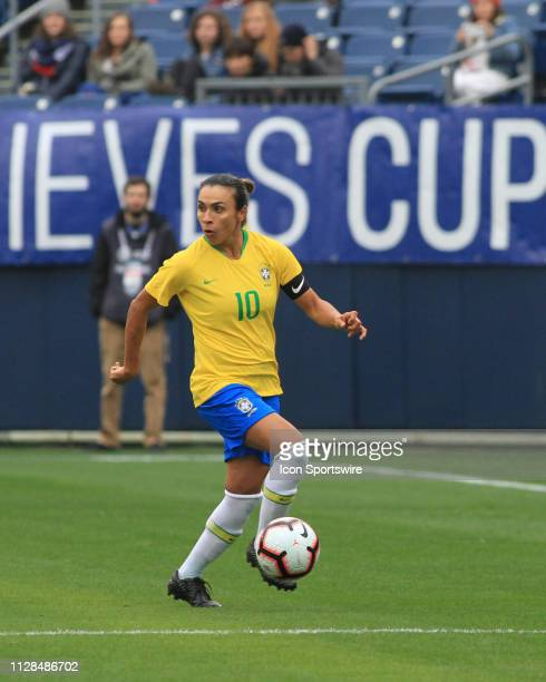 Brazil's Marta pushes the ball down the field during a SheBelieves Cup match between Brazil and Japan March 2 at Nissan Stadium in Nashville Tennessee