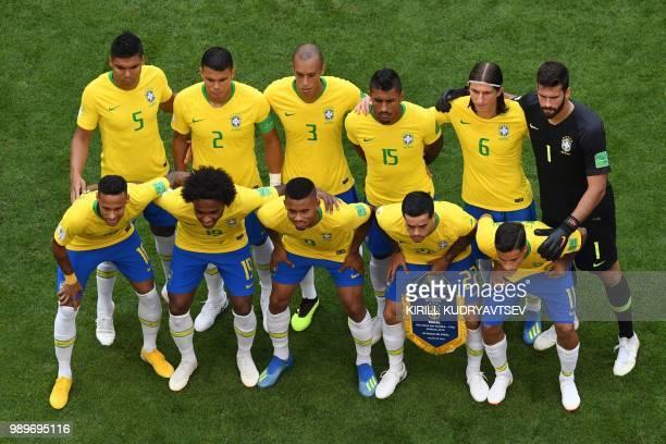 Brazil's midfielder Casemiro Brazil's defender Thiago Silva Brazil's defender Miranda Brazil's midfielder Paulinho Brazil's defender Filipe Luis...