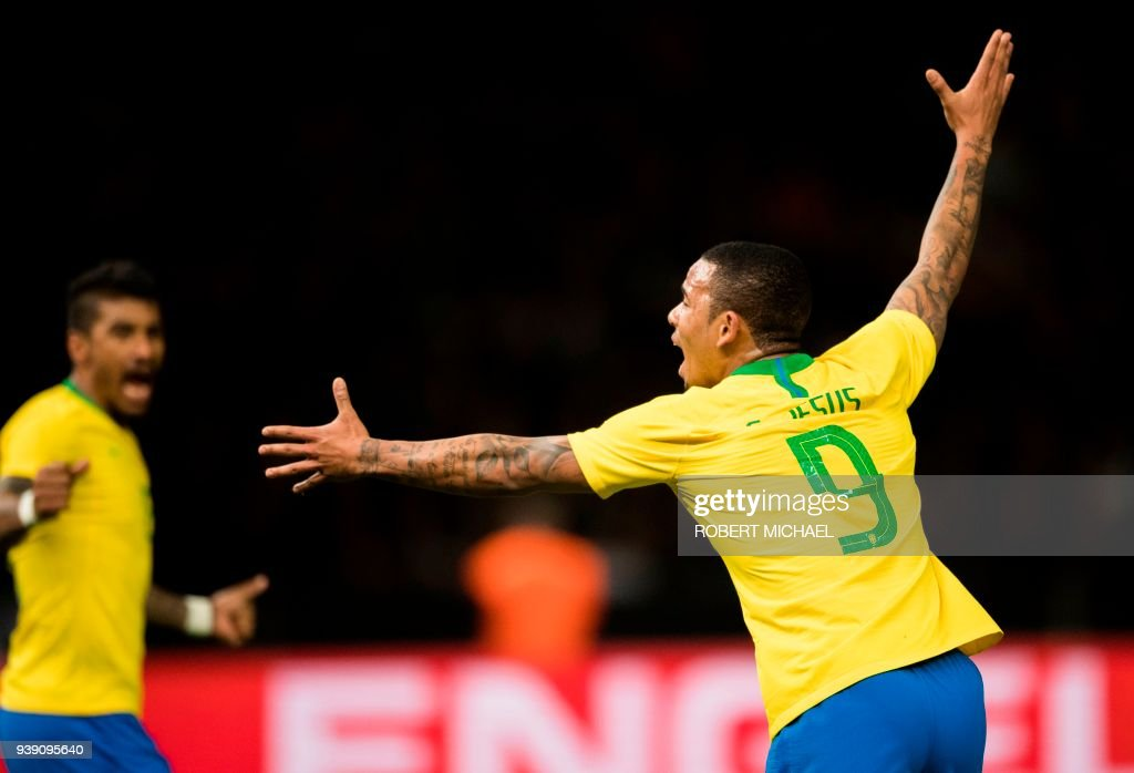 Brazil´s midfielder Gabriel Jesus celebrates scoring during the international friendly football match between Germany and Brazil in Berlin, on March 27, 2018. /