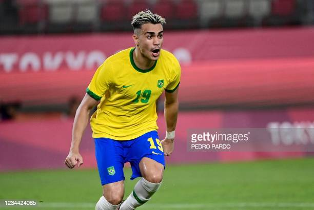 Brazil's midfielder Reinier celebrates after scoring a penalty during the Tokyo 2020 Olympic Games men's semi-final football match between Mexico and...