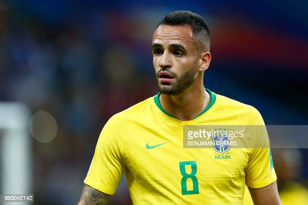 Brazil's midfielder Renato Augusto looks on during the Russia 2018 World Cup quarterfinal football match between Brazil and Belgium at the Kazan...