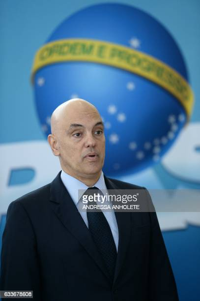 Brazil's Minister Justice and Public Security Alexandre de Moraes is pictured during the inauguration ceremony of the ministers of Justice and Public...