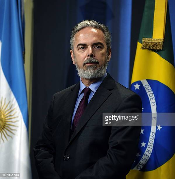 Brazil's Minister of Foreing Affairs Antonio de Aguiar Patriota attends a press conference with his Argentinian counterpart Hector Timerman after a...