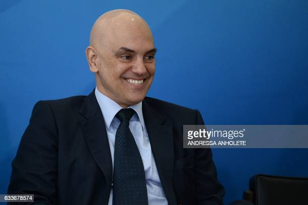 Brazil's Minister of Justice and Public Security Alexandre de Moraes smiles during the inauguration ceremony of the ministers of Justice and Public...