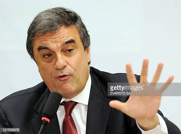 Brazil's Minister of Justice Jose Eduardo Cardozo speaks before the Committee of Public Security and Fight to Organized Crime during a public hearing...