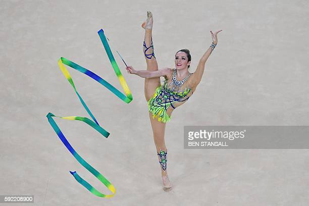 TOPSHOT Brazil's Natalia Azevedo Gaudio competes in the individual allaround qualifying event of the Rhythmic Gymnastics at the Olympic Arena during...