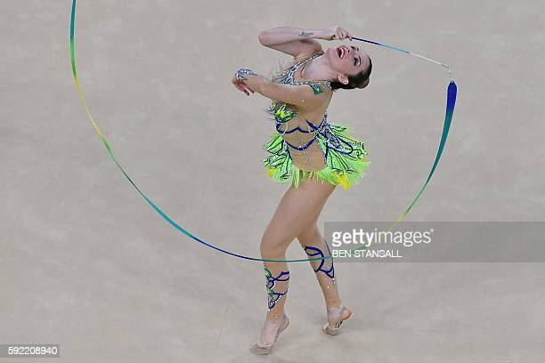 Brazil's Natalia Azevedo Gaudio competes in the individual allaround qualifying event of the Rhythmic Gymnastics at the Olympic Arena during the Rio...