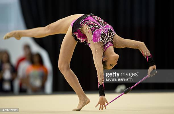 Brazil's Natalia Gaudio competes in the X South American Games Rhythmic Gymnastics competition in Santiago Chile on March 17 2014 AFP PHOTO/MARTIN...