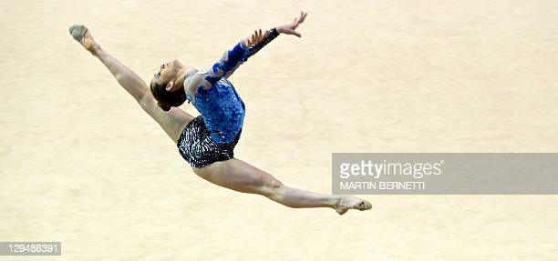 Brazil's Natalia Gaudio performs in the individual competition of Rhythmic Gymnastics during the XVI PanAmerican Games Guadalajara 2011 in...