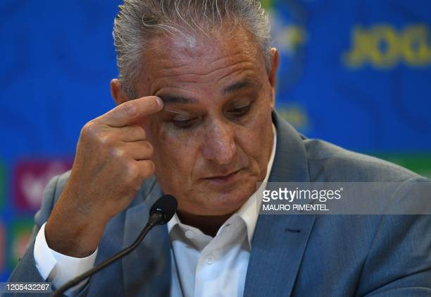 Brazil's national football team coach Tite attends a press conference to announce the list of players for the upcoming FIFA World Cup Qatar 2022...