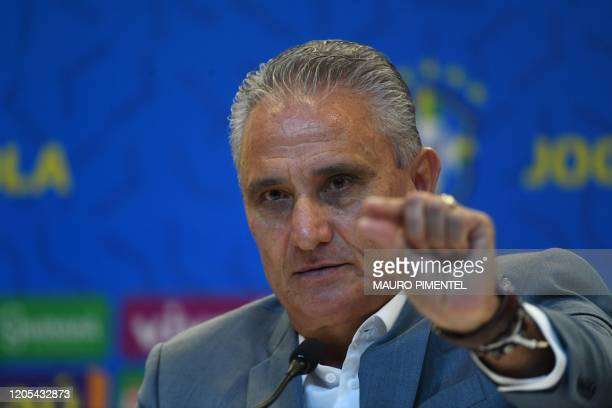 Brazil's national football team coach Tite gestures during a press conference to announce the list of players for the upcoming FIFA World Cup Qatar...