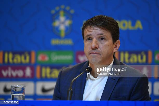 Brazil's national football team director Juninho Paulista attends a press conference in which coach Tite announced the list of players for the...