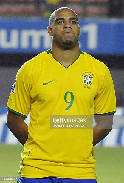 Brazil's national football team player Adriano poses for a picture before a FIFA World Cup South Africa2010 qualifier football match against Chile in...
