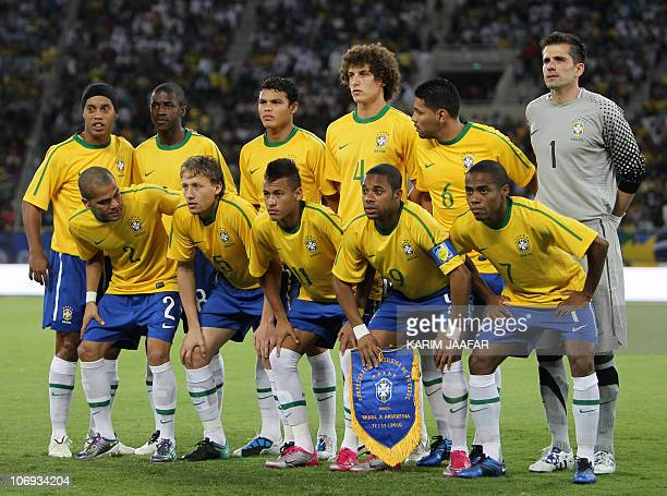 Brazil's national football team poses for a group picture before their friendly football match against Argentina at Khalifa Stadium in Doha on...