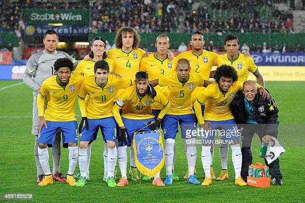 Brazil`s national team players pose before a friendly football match Austria vs Brazil at the Ernst Happel Stadium in Vienna on November 18 2014 AFP...