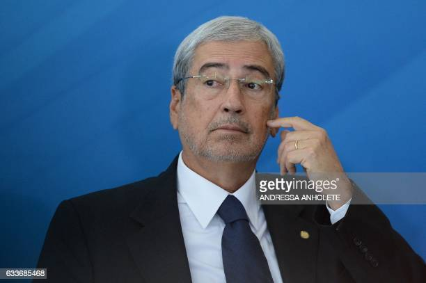 Brazil's new Minister of Government Secretariat Antonio Imbassahy gestures during the inauguration ceremony of the ministers of Justice and Public...