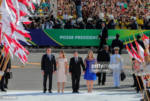 Brazil's new president Jair Bolsonaro his wife Michelle Bolsonaro Brazil's new VicePresident Hamilton Mourao and his wife Paula Mourao arrive at the...