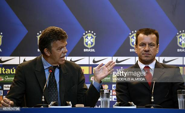 Brazil's new technical director Gilmar Rinaldi presents Brazil's 1994 WorldCup winning skipper Carlos Verri better known as 'Dunga' as the new coach...