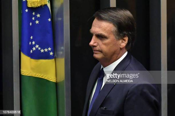 TOPSHOT Brazil's newly swornin President Jair Bolsonaro is pictured during his inauguration ceremony at the Congress in Brasilia on January 1 2019...