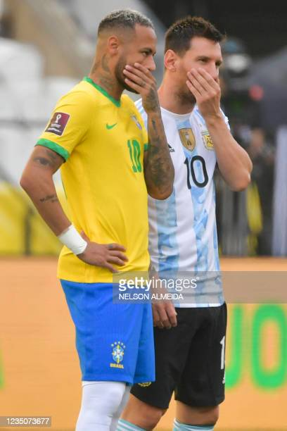 Brazil's Neymar and Argentina's Lionel Messi talk before their South American qualification football match for the FIFA World Cup Qatar 2022 at the...