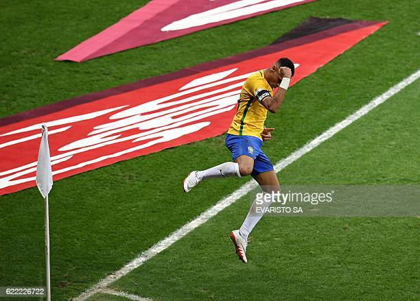 TOPSHOT Brazil's Neymar celebrates after scoring against Argentina during their 2018 FIFA World Cup qualifier football match in Belo Horizonte Brazil...