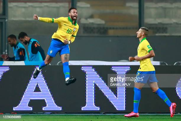 Brazil's Neymar celebrates after scoring against Brazil during their 2022 FIFA World Cup South American qualifier football match at the National...