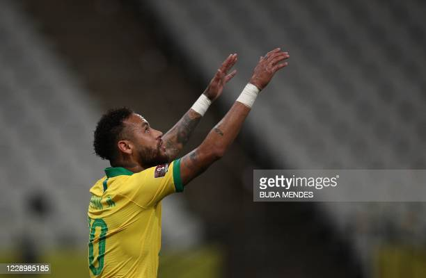 Brazil's Neymar gestures during the 2022 FIFA World Cup South American qualifier football match against Bolivia at the Neo Quimica Arena, also known...