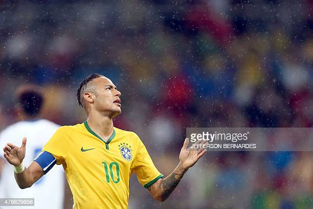 Brazil's Neymar Jr gestures during a friendly football match with Honduras in preparation for the Copa America Chile 2015 at BeiraRio Stadium in...