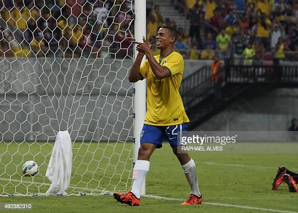 Brazil's Olympic striker Gabriel Jesus celebrates after scoring against Haiti during a friendly match at the Arena Amazonia in Manaus Amazonas State...