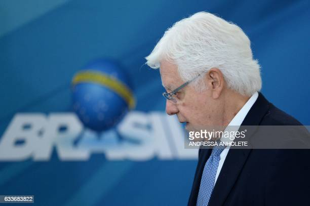 Brazil's outgoing Chief of Staff Wellington Moreira Franco is pictured during the inauguration ceremony of the ministers of Justice and Public...