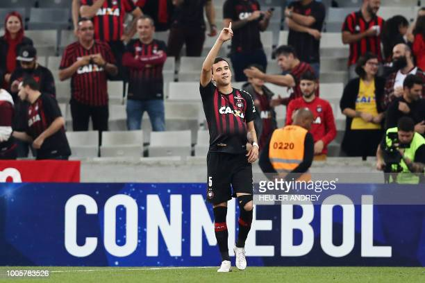Brazils Pablo of Atletico Paranaense celebrates after scoring against Uruguay's Penarol during their 2018 Copa Sudamericana football match at the...