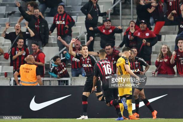 Brazils Pablo of Atletico Paranaense celebrates with teammates after scoring against Uruguay's Penarol during their 2018 Copa Sudamericana football...