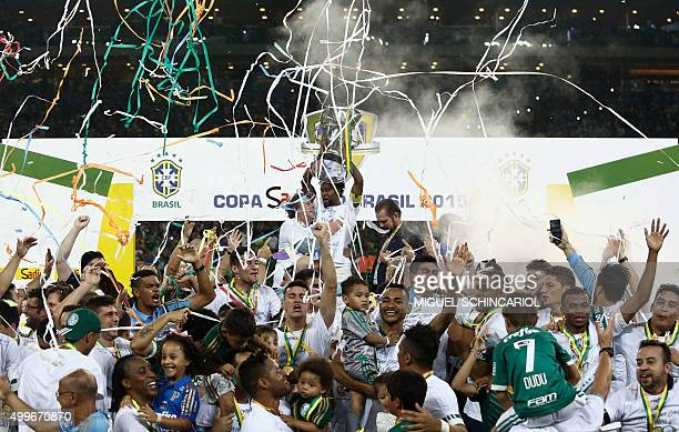 Brazil's Palmeiras capitain Ze Roberto holds the Brazil Cup after winning the second leg final match against Brazil's Santos held at Allianz Parque...