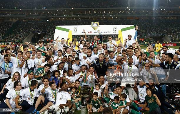 Brazil's Palmeiras celebrate after winning the 2015 Brazil Cup after winning the second leg final match against Brazil's Santos held at Allianz...
